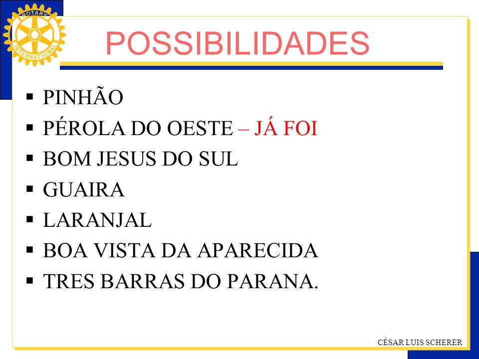 POSSIBILIDADES PINHÃO PÉROLA DO OESTE – JÁ FOI BOM JESUS DO SUL GUAIRA