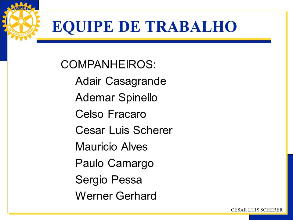 EQUIPE DE TRABALHO COMPANHEIROS: Adair Casagrande Ademar Spinello
