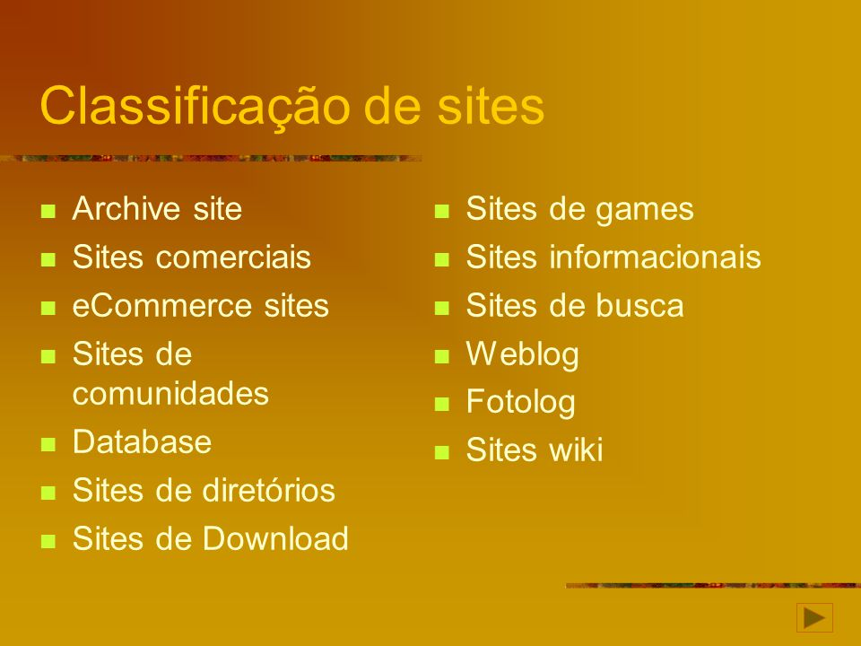 Classificação de sites