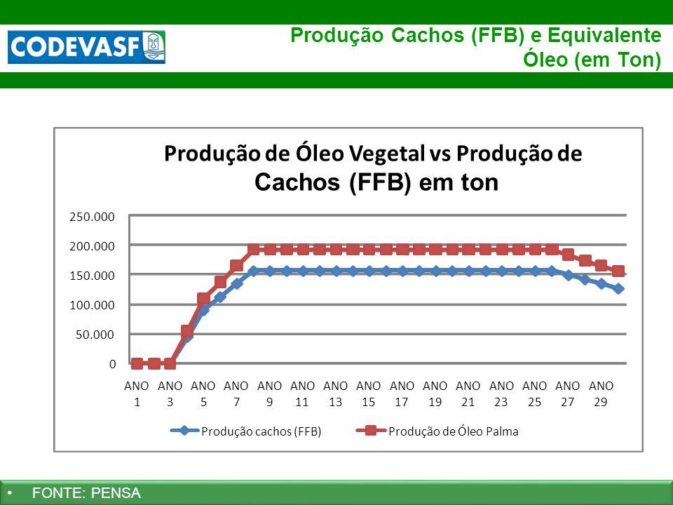 Produção Cachos (FFB) e Equivalente Óleo (em Ton)
