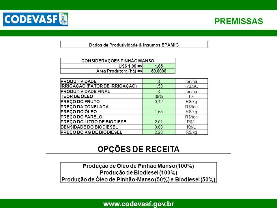 PREMISSAS OPÇÕES DE RECEITA Produção de Óleo de Pinhão Manso (100%)
