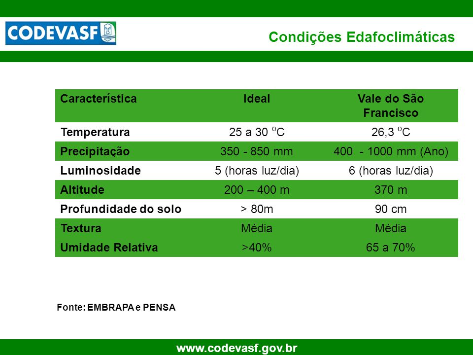 Condições Edafoclimáticas