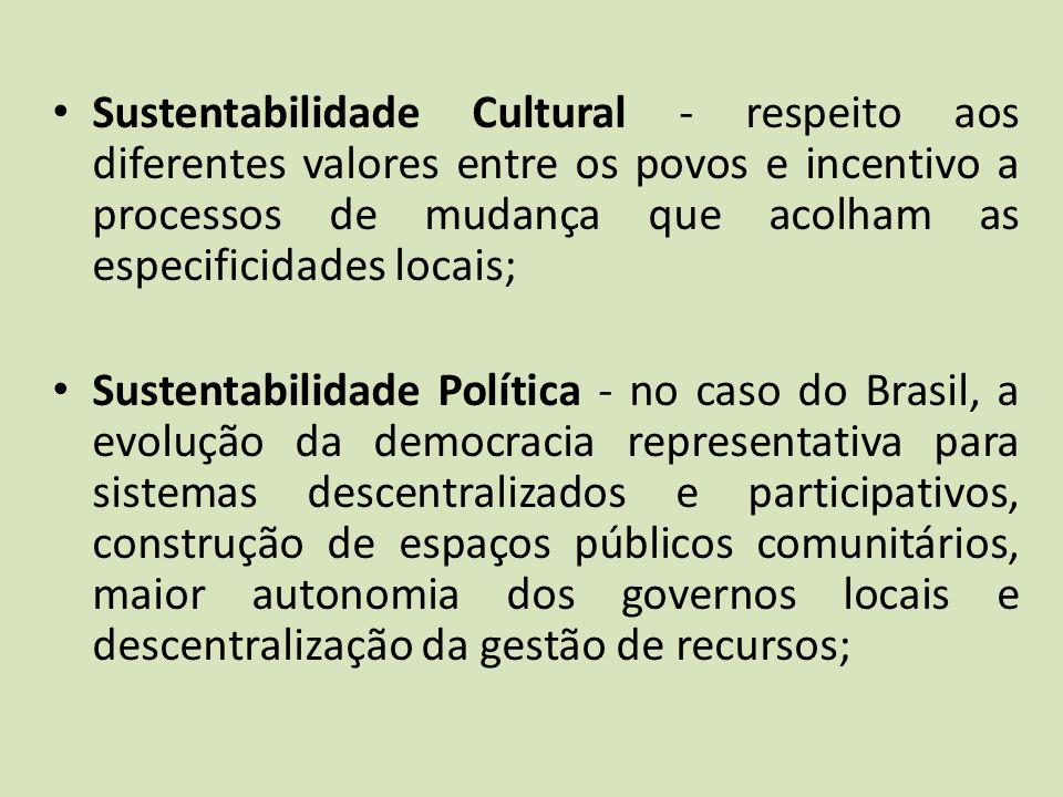 Sustentabilidade Cultural - respeito aos diferentes valores entre os povos e incentivo a processos de mudança que acolham as especificidades locais;