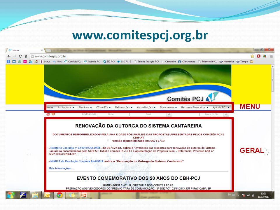 www.comitespcj.org.br MENU GERAL