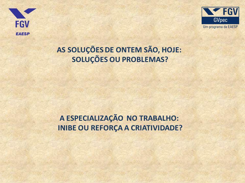 AS SOLUÇÕES DE ONTEM SÃO, HOJE: SOLUÇÕES OU PROBLEMAS