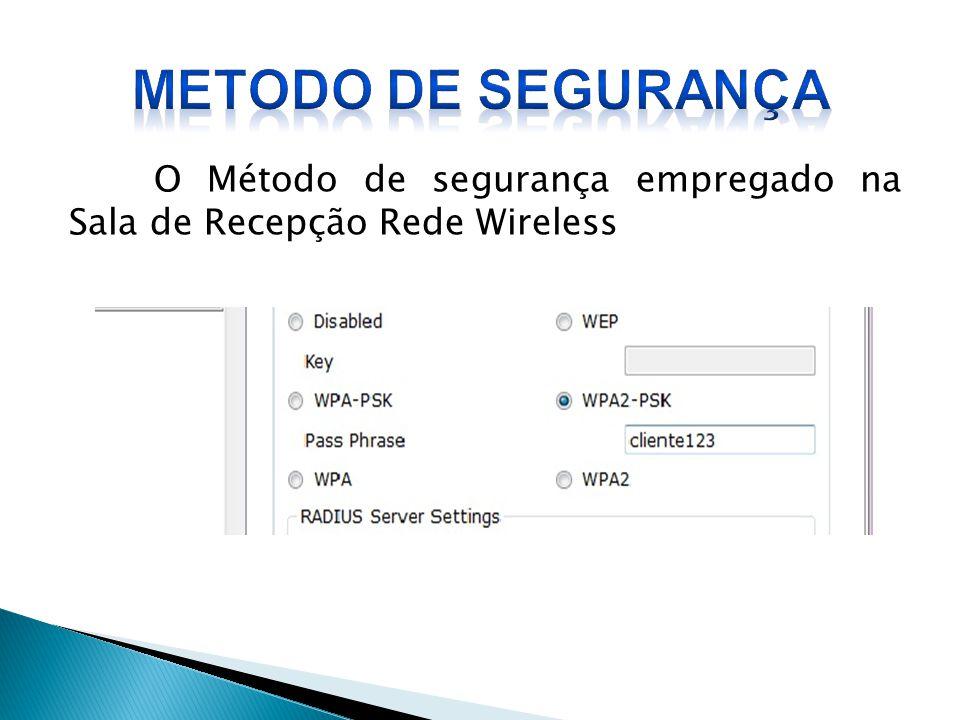 METODO DE SEGURANÇA O Método de segurança empregado na Sala de Recepção Rede Wireless