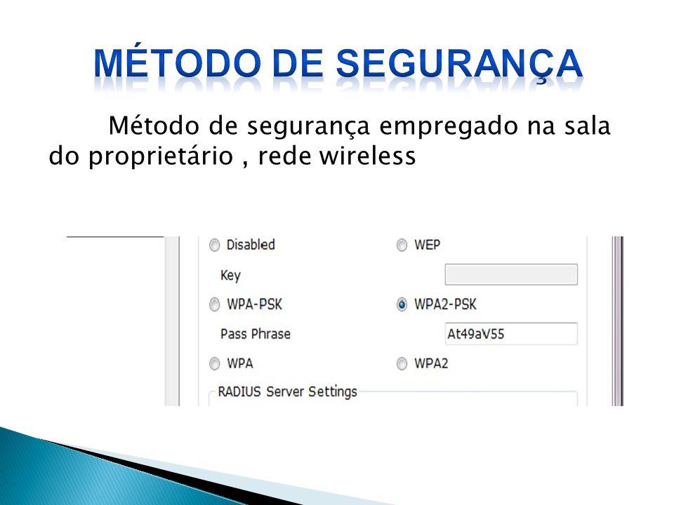 Método de segurança Método de segurança empregado na sala do proprietário , rede wireless