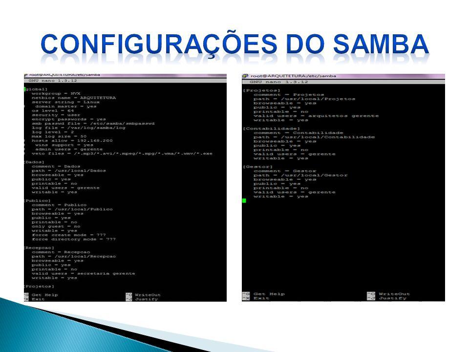 CONFIGURAÇÕES DO SAMBA