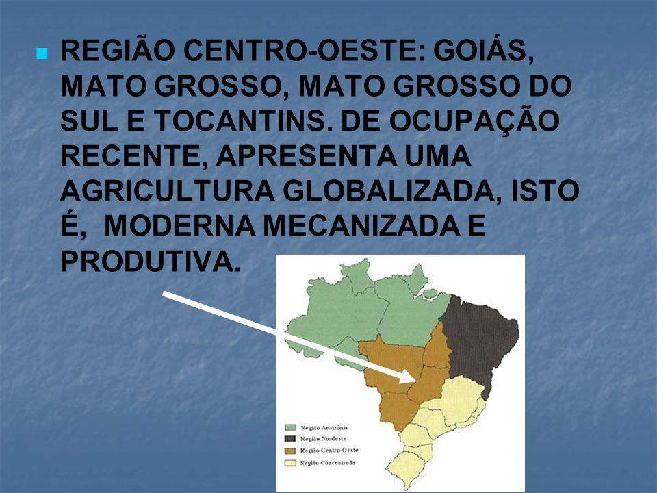 REGIÃO CENTRO-OESTE: GOIÁS, MATO GROSSO, MATO GROSSO DO SUL E TOCANTINS.