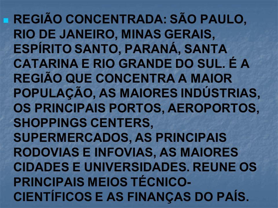 REGIÃO CONCENTRADA: SÃO PAULO, RIO DE JANEIRO, MINAS GERAIS, ESPÍRITO SANTO, PARANÁ, SANTA CATARINA E RIO GRANDE DO SUL.