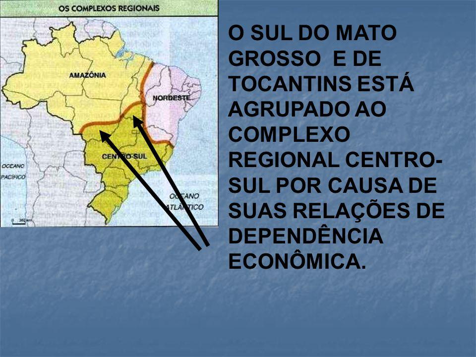 O SUL DO MATO GROSSO E DE TOCANTINS ESTÁ AGRUPADO AO COMPLEXO REGIONAL CENTRO- SUL POR CAUSA DE SUAS RELAÇÕES DE DEPENDÊNCIA ECONÔMICA.