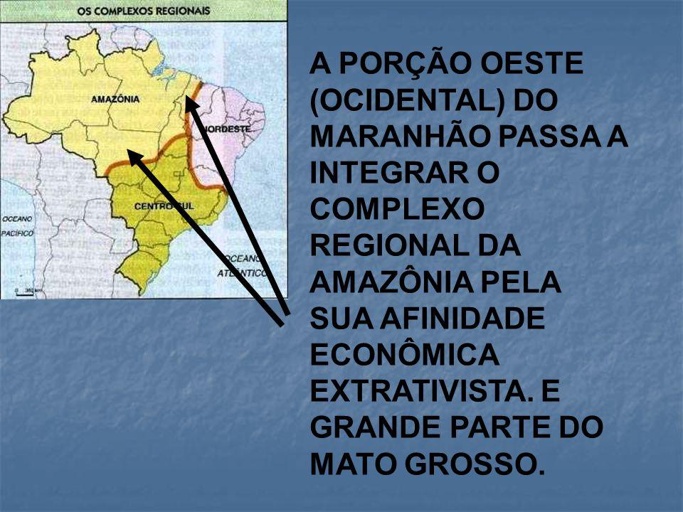 A PORÇÃO OESTE (OCIDENTAL) DO MARANHÃO PASSA A INTEGRAR O COMPLEXO REGIONAL DA AMAZÔNIA PELA SUA AFINIDADE ECONÔMICA EXTRATIVISTA.