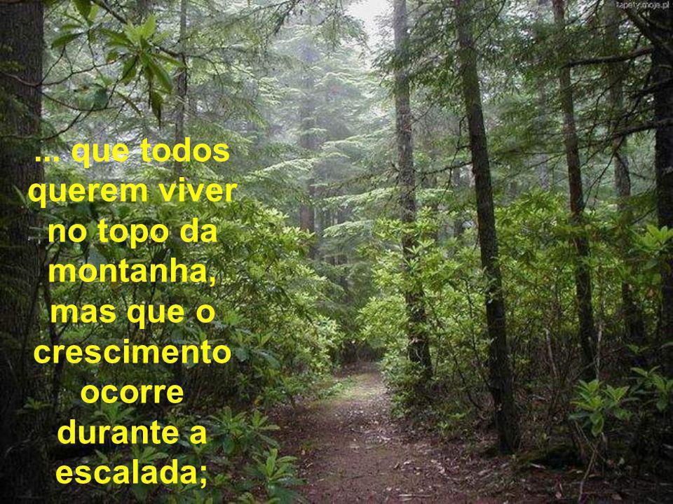 ... que todos querem viver no topo da montanha, mas que o crescimento ocorre durante a escalada;
