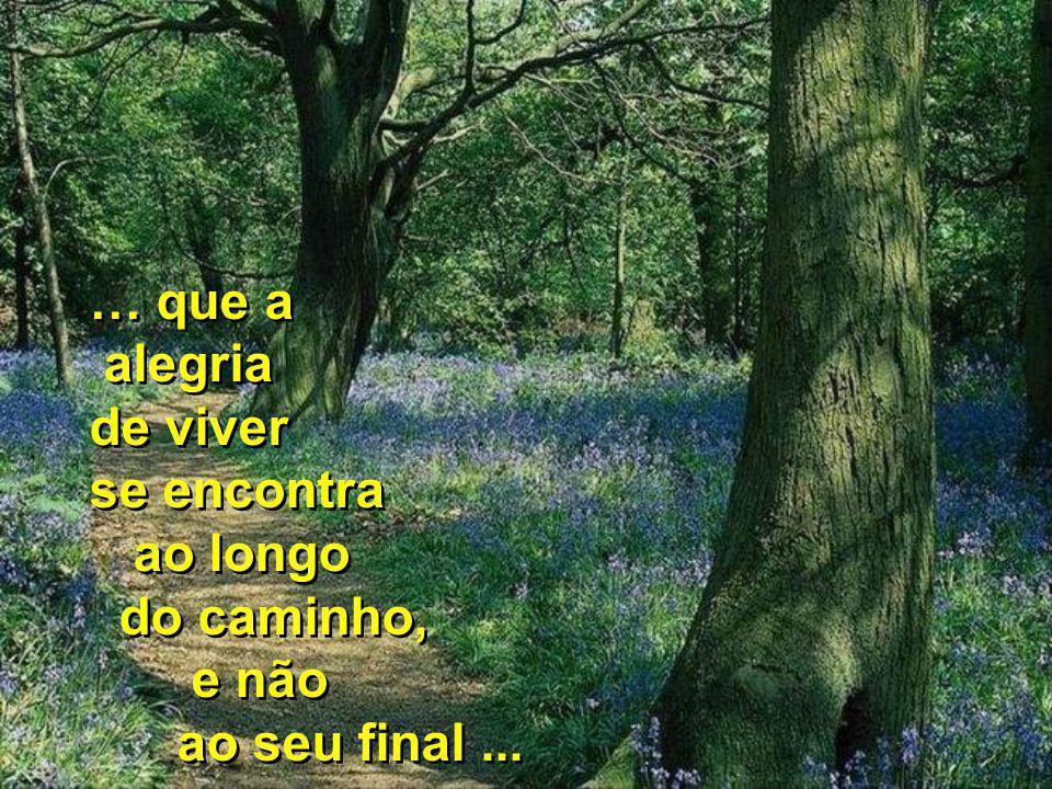 … que a alegria de viver se encontra ao longo do caminho, e não ao seu final ...