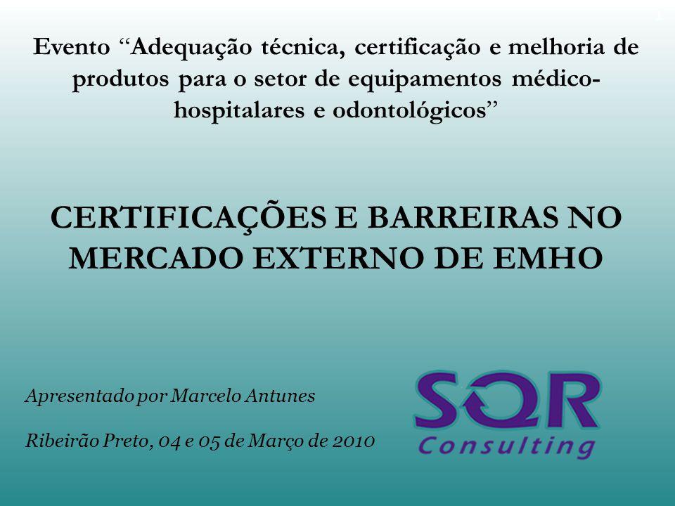 CERTIFICAÇÕES E BARREIRAS NO MERCADO EXTERNO DE EMHO