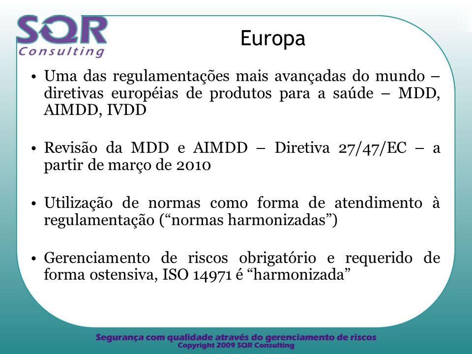 Europa Uma das regulamentações mais avançadas do mundo – diretivas européias de produtos para a saúde – MDD, AIMDD, IVDD.