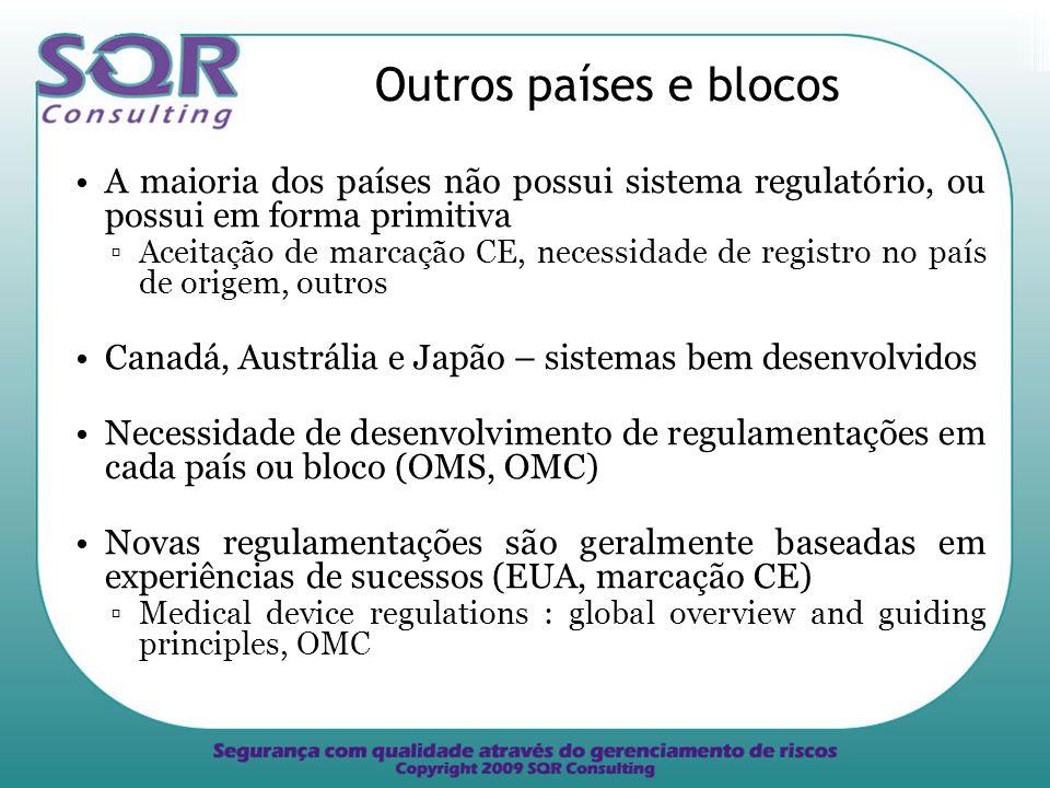 Outros países e blocos A maioria dos países não possui sistema regulatório, ou possui em forma primitiva.