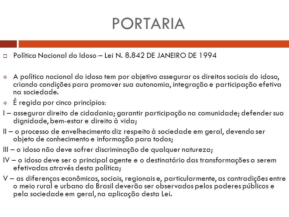 PORTARIA Política Nacional do Idoso – Lei N. 8.842 DE JANEIRO DE 1994