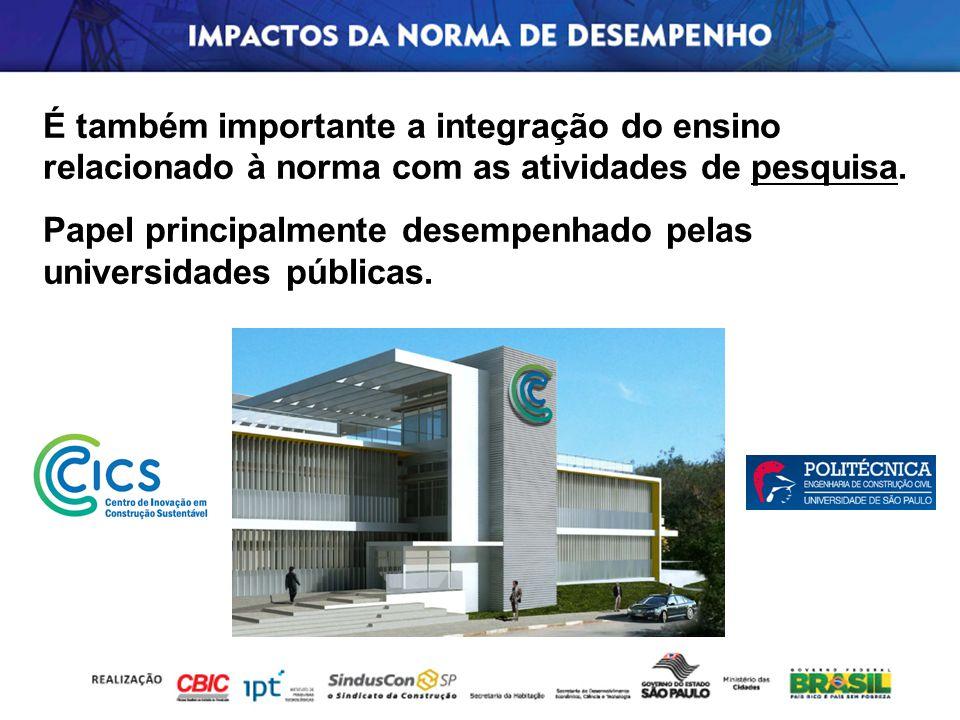 É também importante a integração do ensino relacionado à norma com as atividades de pesquisa.