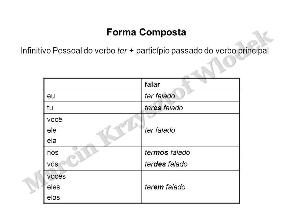 Forma Composta Infinitivo Pessoal do verbo ter + particípio passado do verbo principal. falar. eu.