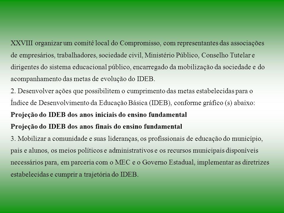 XXVIII organizar um comitê local do Compromisso, com representantes das associações de empresários, trabalhadores, sociedade civil, Ministério Público, Conselho Tutelar e dirigentes do sistema educacional público, encarregado da mobilização da sociedade e do acompanhamento das metas de evolução do IDEB.