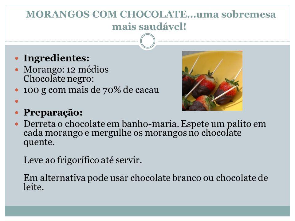 MORANGOS COM CHOCOLATE…uma sobremesa mais saudável!