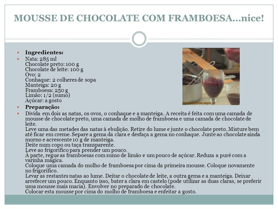 MOUSSE DE CHOCOLATE COM FRAMBOESA…nice!
