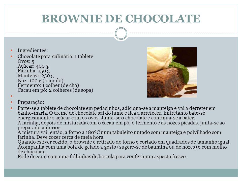 BROWNIE DE CHOCOLATE Ingredientes: