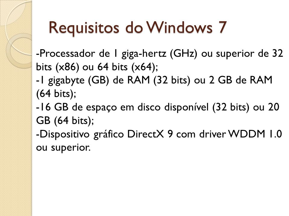 Requisitos do Windows 7