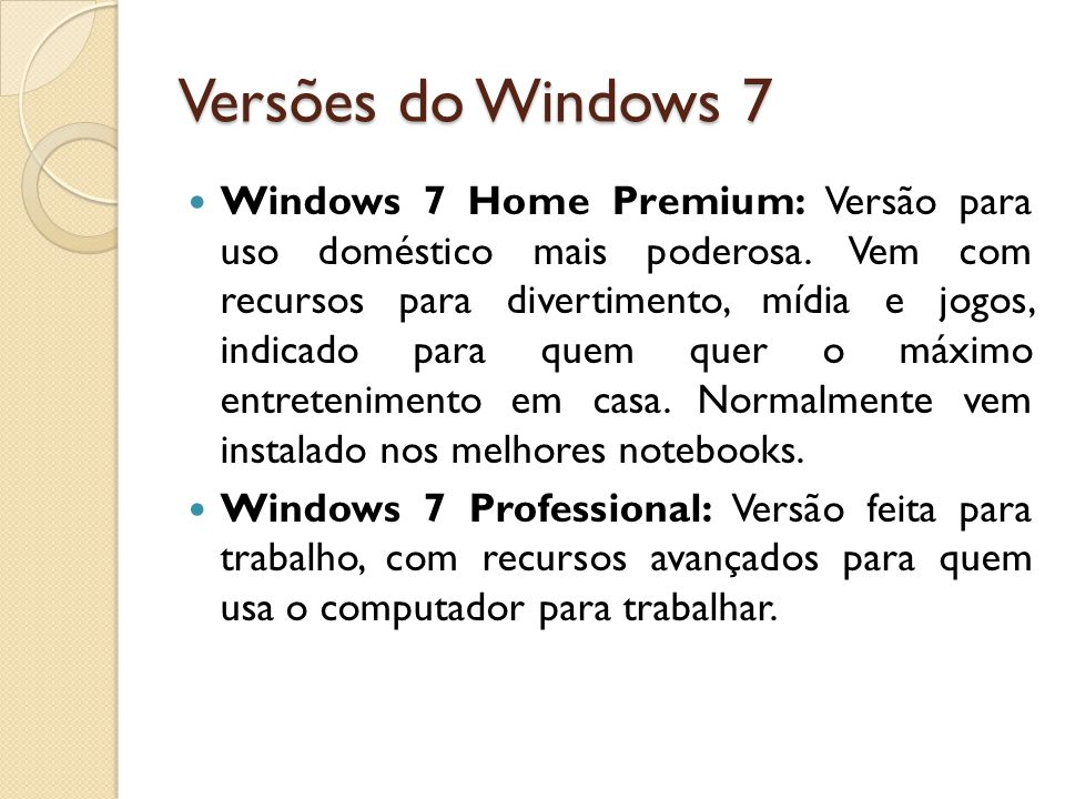 Versões do Windows 7