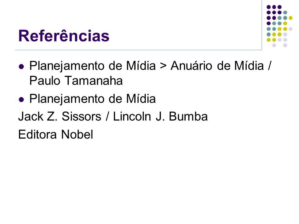Referências Planejamento de Mídia > Anuário de Mídia / Paulo Tamanaha. Planejamento de Mídia. Jack Z. Sissors / Lincoln J. Bumba.