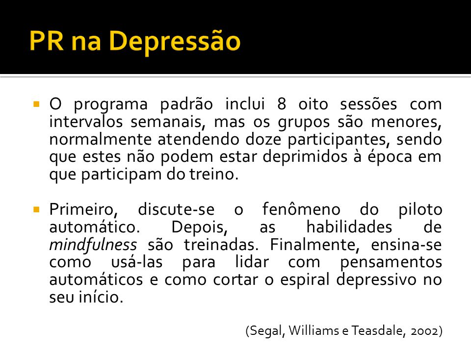 PR na Depressão