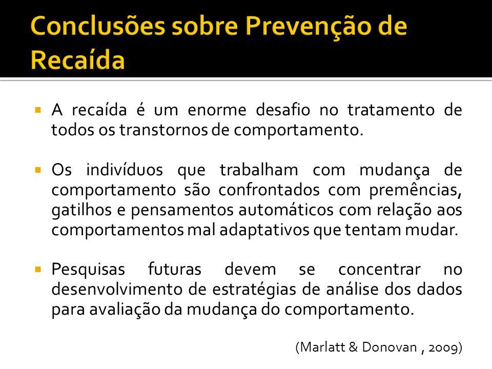 Conclusões sobre Prevenção de Recaída