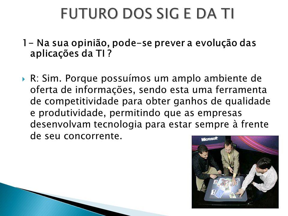 FUTURO DOS SIG E DA TI 1- Na sua opinião, pode-se prever a evolução das aplicações da TI