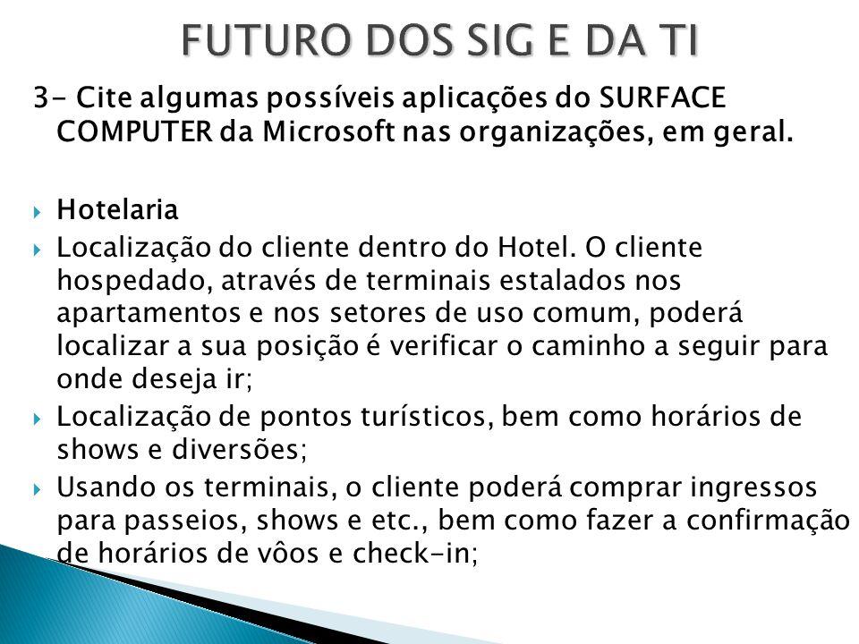 FUTURO DOS SIG E DA TI 3- Cite algumas possíveis aplicações do SURFACE COMPUTER da Microsoft nas organizações, em geral.