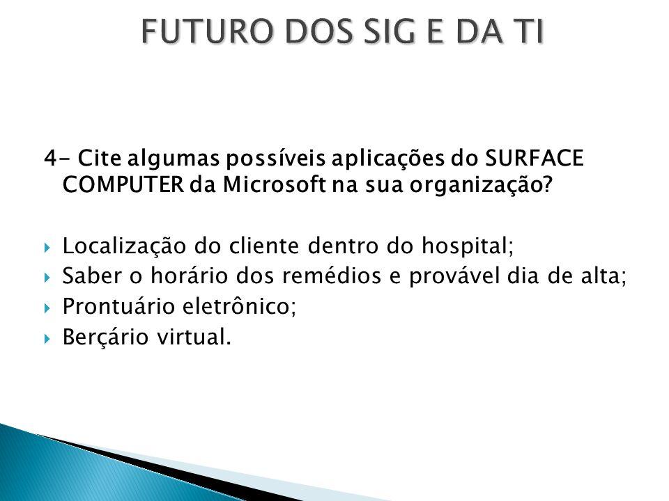 FUTURO DOS SIG E DA TI 4- Cite algumas possíveis aplicações do SURFACE COMPUTER da Microsoft na sua organização