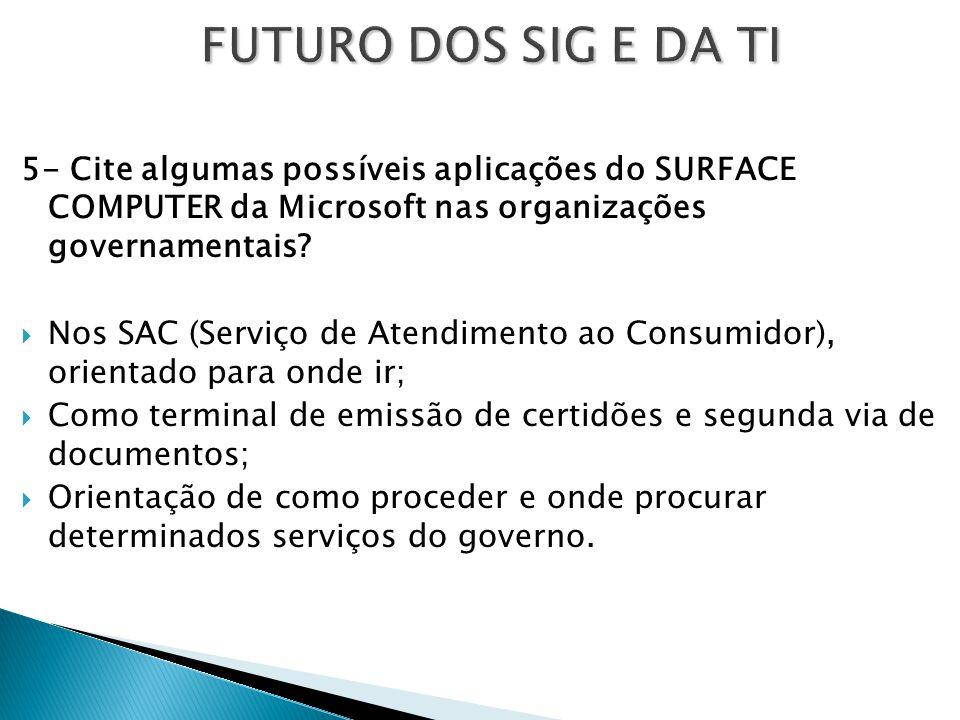 FUTURO DOS SIG E DA TI 5- Cite algumas possíveis aplicações do SURFACE COMPUTER da Microsoft nas organizações governamentais