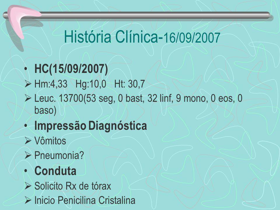 História Clínica-16/09/2007 HC(15/09/2007) Impressão Diagnóstica