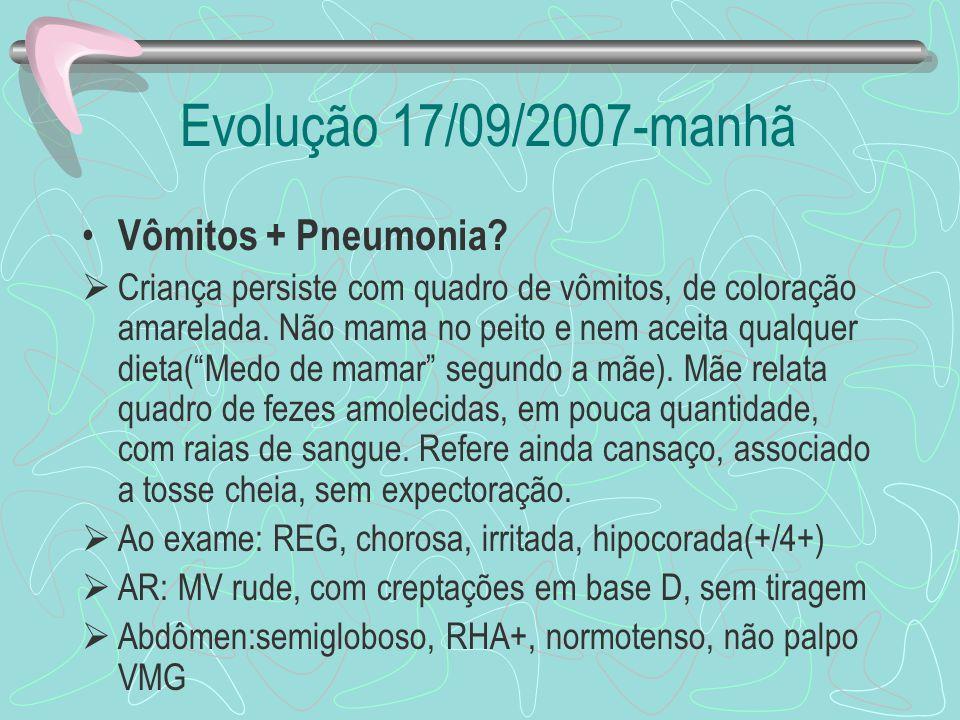Evolução 17/09/2007-manhã Vômitos + Pneumonia