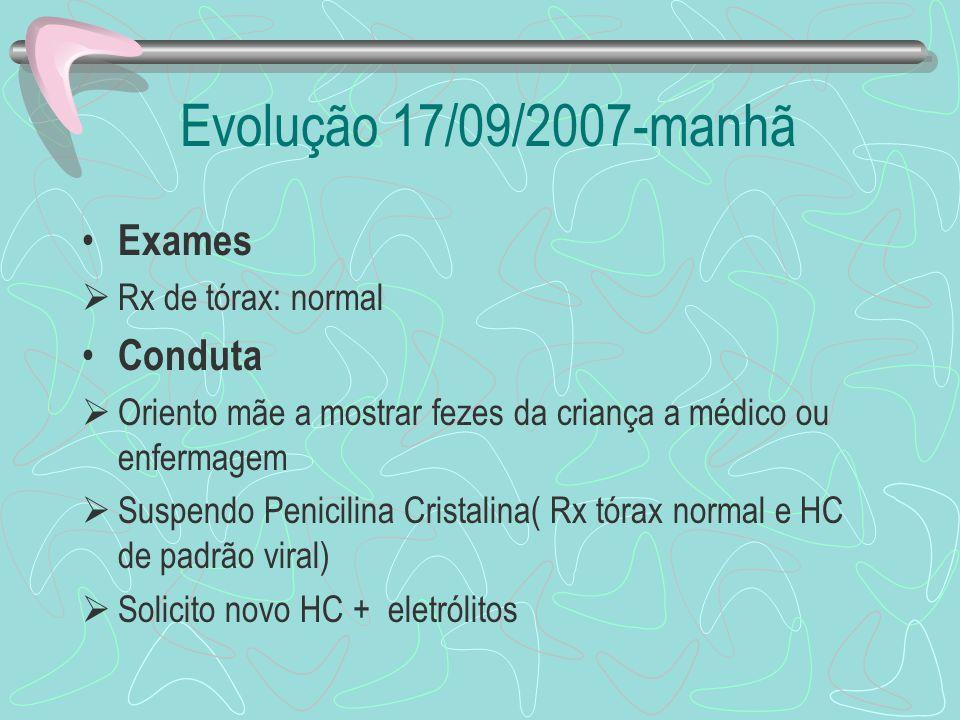 Evolução 17/09/2007-manhã Exames Conduta Rx de tórax: normal