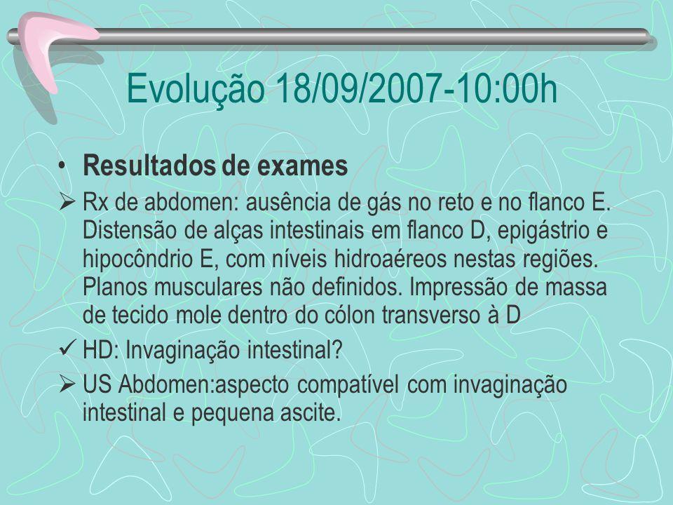 Evolução 18/09/2007-10:00h Resultados de exames