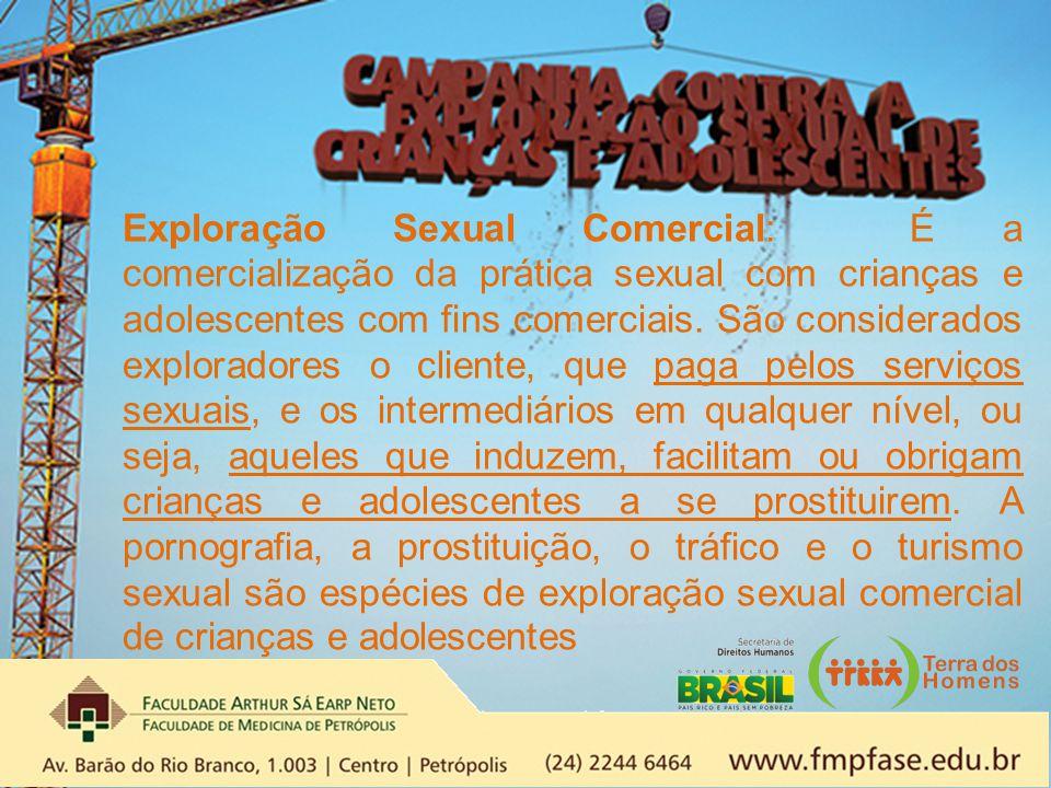 Exploração Sexual Comercial: É a comercialização da prática sexual com crianças e adolescentes com fins comerciais.