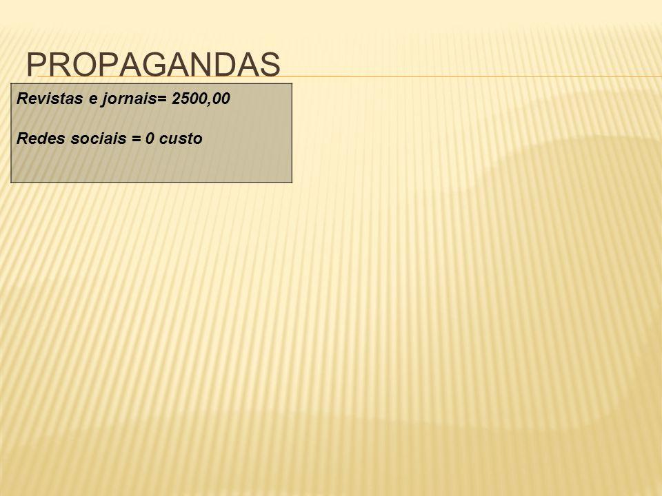 PROPAGANDAS Revistas e jornais= 2500,00 Redes sociais = 0 custo