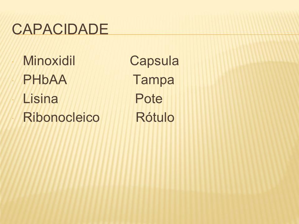 CAPACIDADE Minoxidil Capsula PHbAA Tampa Lisina Pote