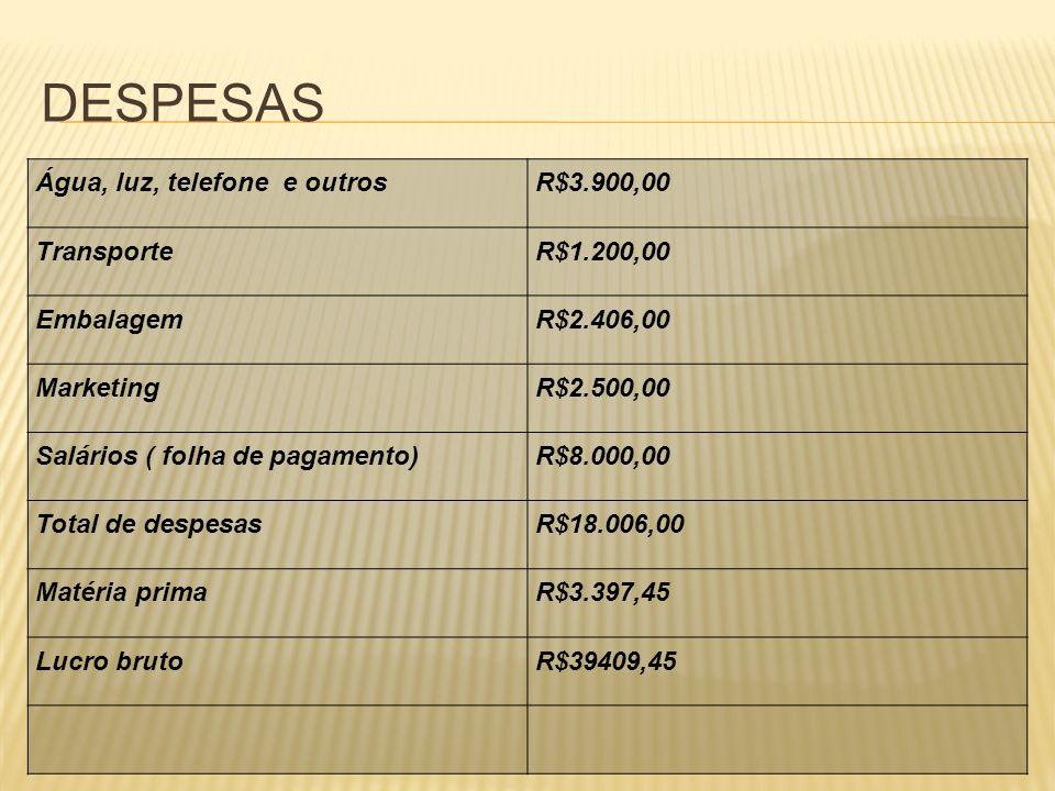 DESPESAS Água, luz, telefone e outros R$3.900,00 Transporte R$1.200,00