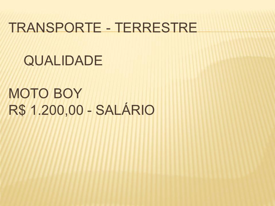 TRANSPORTE - TERRESTRE QUALIDADE MOTO BOY R$ 1.200,00 - SALÁRIO