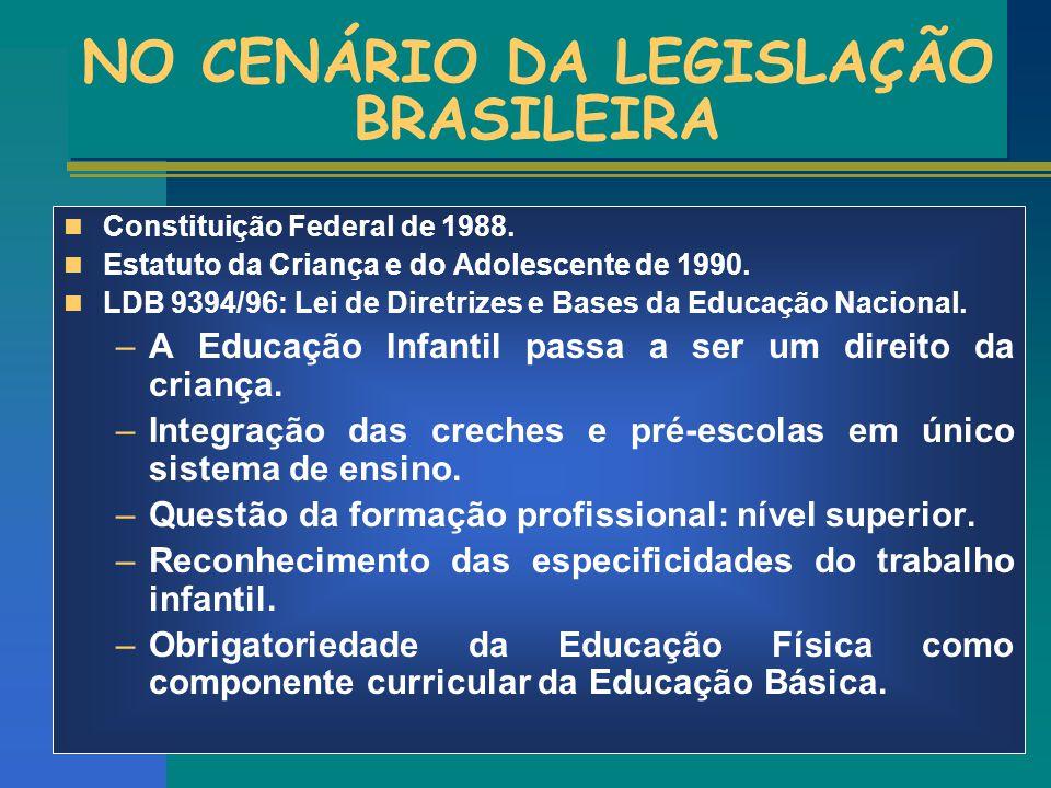 NO CENÁRIO DA LEGISLAÇÃO BRASILEIRA