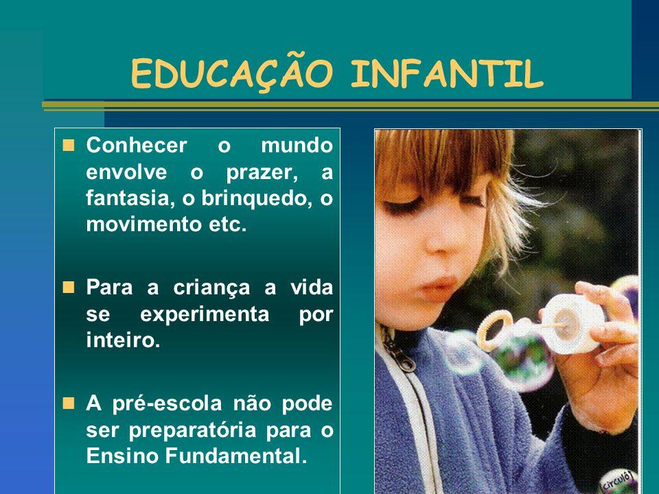 EDUCAÇÃO INFANTIL Conhecer o mundo envolve o prazer, a fantasia, o brinquedo, o movimento etc. Para a criança a vida se experimenta por inteiro.