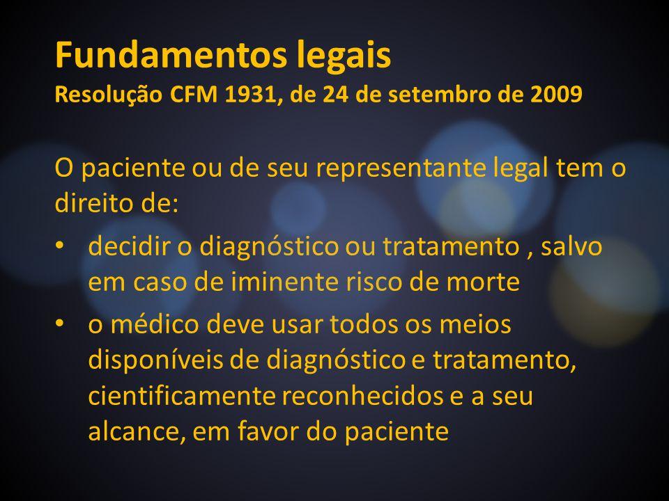 Fundamentos legais Resolução CFM 1931, de 24 de setembro de 2009