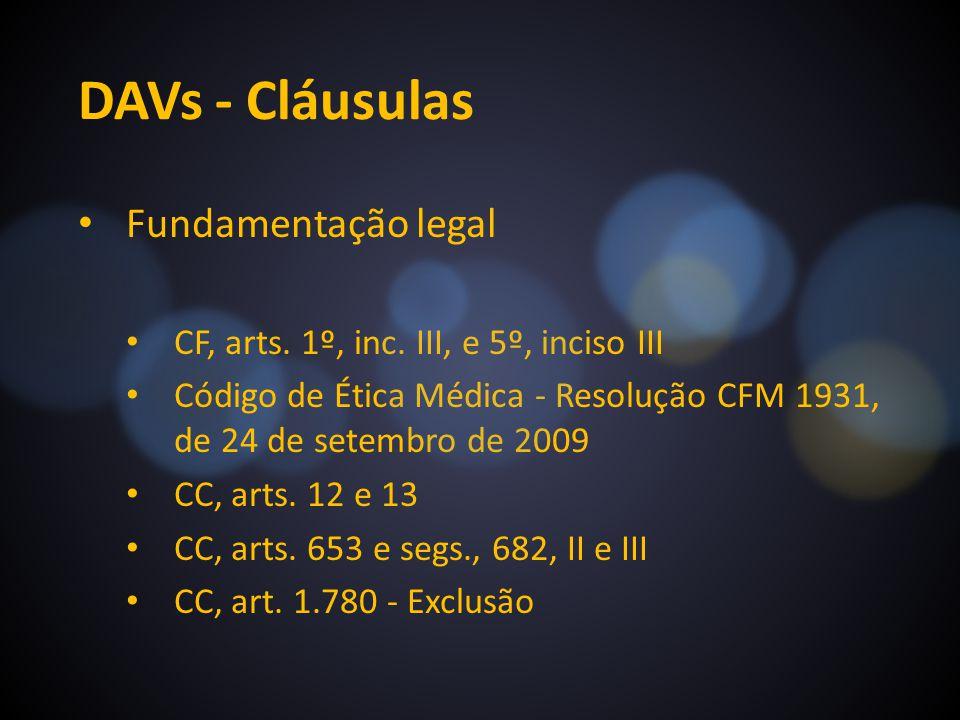 DAVs - Cláusulas Fundamentação legal